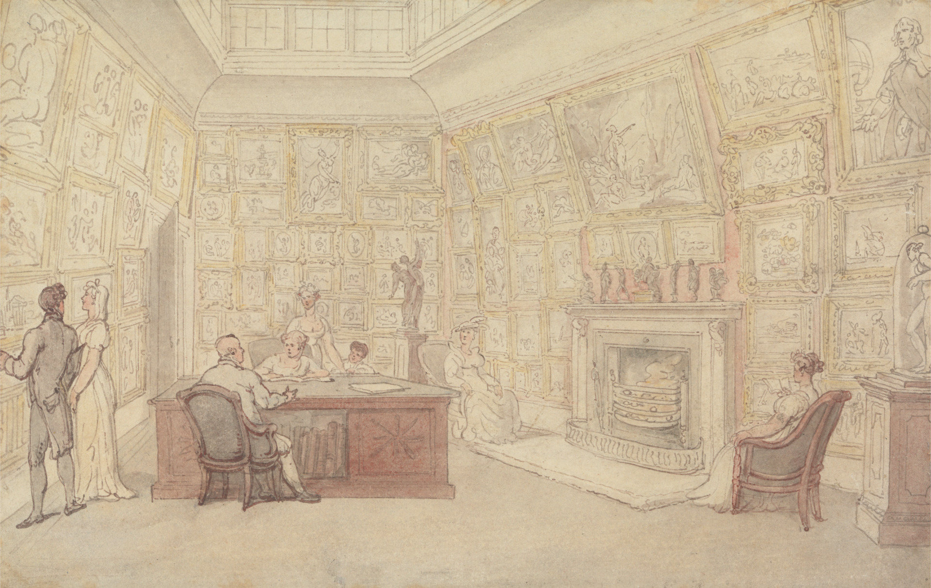 Thomas Rowlandson, A Gentleman's Gallery, undated, Watercolor and graphite with pen and gray ink and pen and brown ink on medium, slightly textured, cream wove paper, Yale Center for British Art, Paul Mellon Collection.