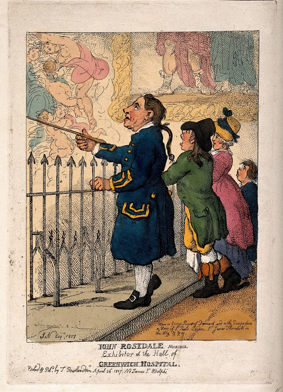 A Greenwich Pensioner showing the Thornhill decorations in the Painted Hall to a family of visitors. Coloured etching by T. Rowlandson after [J. N.] Esq, 1807. Courtesy of the Wellcome Institute.
