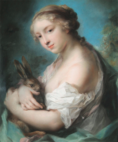 Rosalba Carriera, Girl with a Rabbit, ca. 1720-1730, Pastel on paper. Huntington Library, Art Collections, and Botanical Gardens, Adele S. Browning Memorial Collection, 78.20.28.