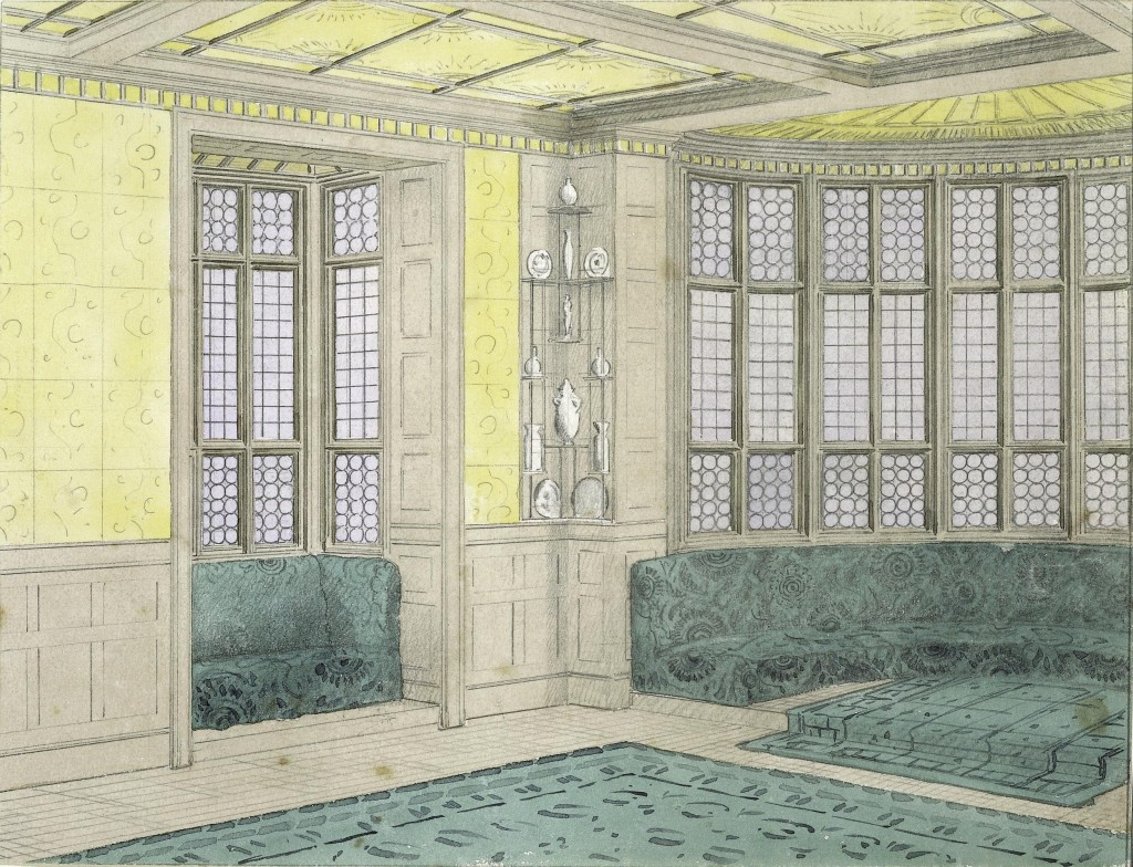 Thomas Jeckyll, Perspective design for the billiard room at No.1 Holland Park, ca. 1870. Pencil and watercolor. © Victoria and Albert Museum, London
