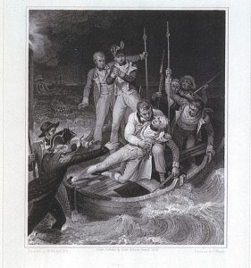 John Neagle, after a painting by Richard Westall, Sir Horatio Nelson when wounded at Teneriffe, Night of July 24th, 1797, 1809 (published). Engraving and etching, 51.7 x 39 cm. National Maritime Museum, Greenwich, UK. http://collections.rmg.co.uk/collections/objects/128455.html.