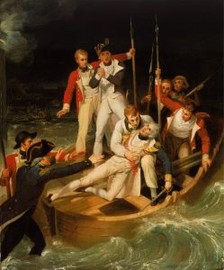 Richard Westall, Nelson wounded at Tenerife, 24 July 1797, 1806. Oil on canvas, 86.6 x 71.1 cm. National Maritime Museum, Greenwich, UK. http://collections.rmg.co.uk/collections/objects/11990.html.