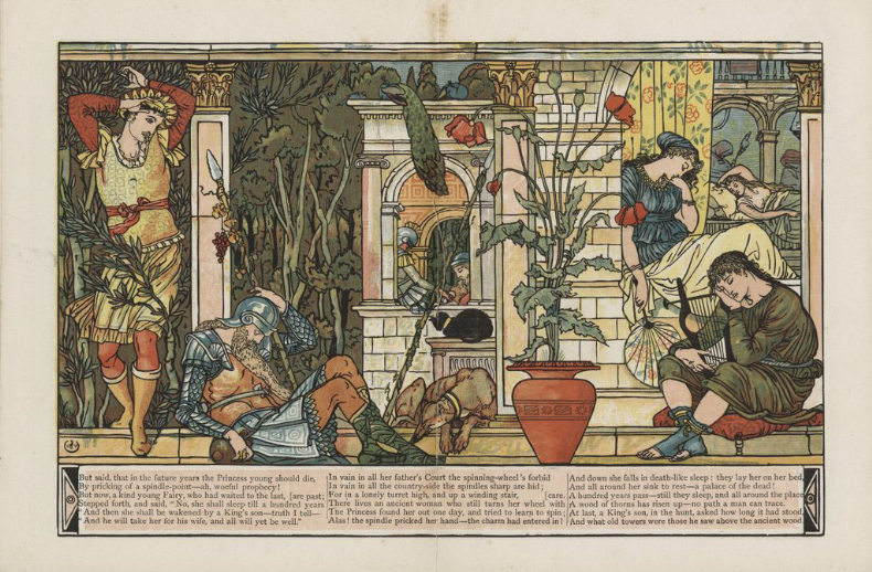 Walter Crane, centerfold illustration to The Sleeping Beauty in the Wood (London: George Routledge and Sons, 1876), Beinecke Library, Yale University.