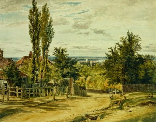 William Henry Hunt (British, 1790-1864), View over Bushey, mid 19th century, pen and watercolor over pencil, 10 3/8 x 13 in. (26.4 x 33 cm), The Huntington Library, Art Collections, and Botanical Gardens, 59.55.736.