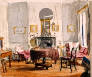 The Drawing Room at 59 Seymour Street, by Matilda Sharpe, c.1850, watercolour/Geffrye Museum of the Home