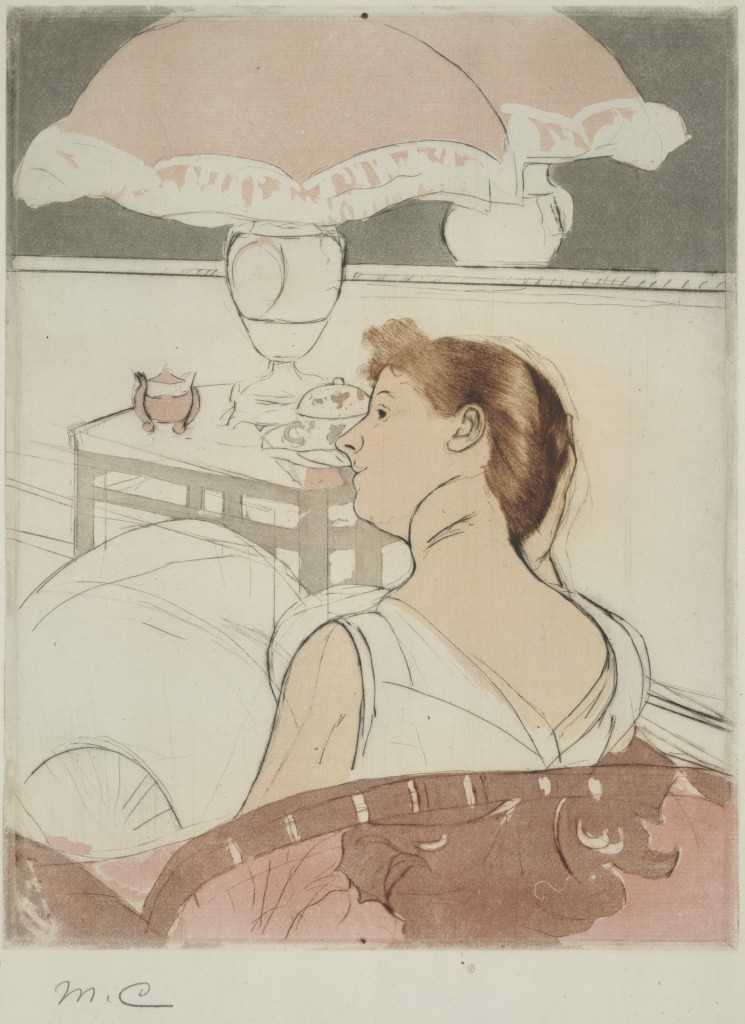 Mary Cassatt, The Lamp, 1890–1. Drypoint, soft-ground etching, and aquatint on paper, from two plates. Yale University Art Gallery: Gift of Jan and Warren Adelson, Mr. and Mrs. N. Lee Griggs, Jr., B.A. 1951, Anthony M. Schulte, B.A. 1951, Mark Rudkin, B.A. 1951, and purchased with the Everett V. Meeks, B. A. 1901, and the Walter H. and Margaret Dwyer Clemens, B.A. 1951, Funds