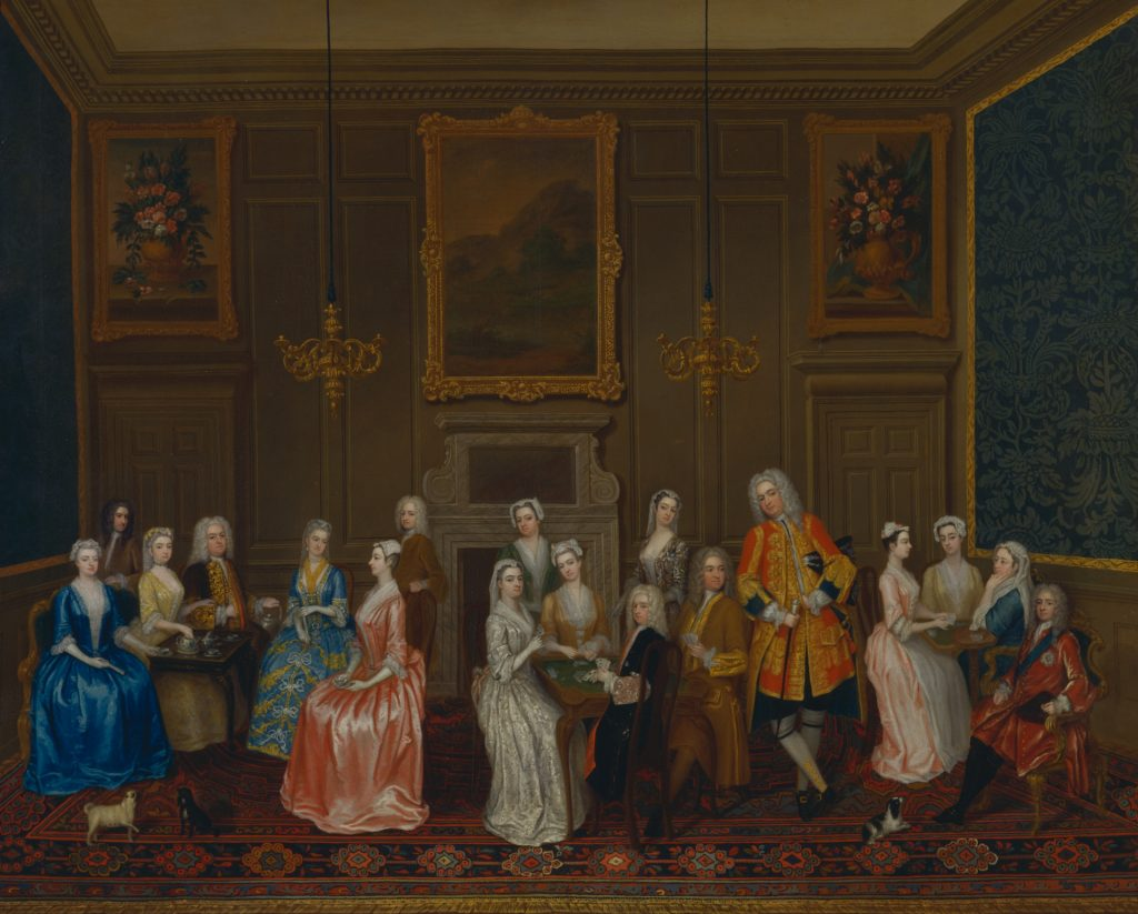 Charles Philips, 1708–1747, British, Tea Party at Lord Harrington's House, St. James's, 1730, Oil on canvas, Yale Center for British Art, Paul Mellon Collection