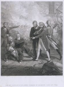 Richard Golding, after a painting by Richard Westall, The San Nicolas & San Josef, Carried by Boarding February 14th, 1797, 15 November 1808 (published). Engraving, 46.5 x 39.5 cm. National Maritime Museum, Greenwich, UK. http://collections.rmg.co.uk/collections/objects/109691.html.